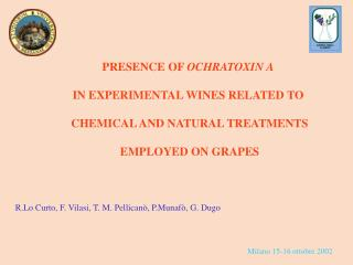 PRESENCE OF OCHRATOXIN A   IN EXPERIMENTAL WINES RELATED TO   CHEMICAL AND NATURAL TREATMENTS   EMPLOYED ON GRAPES