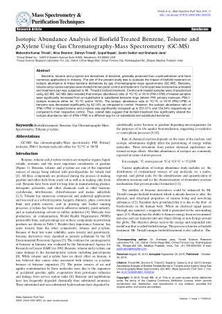 Isotopic Abundance Analysis of Biofield Treated Benzene, Toluene and p-Xylene Using Gas Chromatography-Mass Spectrometry
