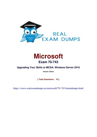 Free Download Microsoft 70-743 Test Questions And Answers PDF