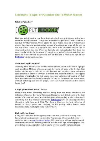 5 Reasons To Opt For Putlocker Site To Watch Movies