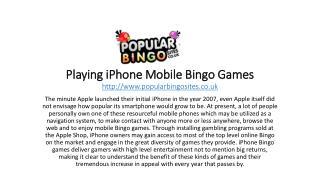 Playing iPhone Mobile Bingo Games