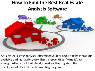 How to Find the Best Real Estate Analysis Software