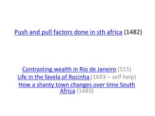 Push and pull factors done in sth africa 1482
