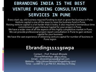 eBranding India is the Best Venture funding consultation services in Pune