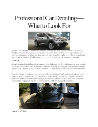 Professional Car Detailing—What to Look For