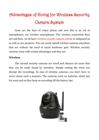 Advantages Of Going For Wireless Security Camera System