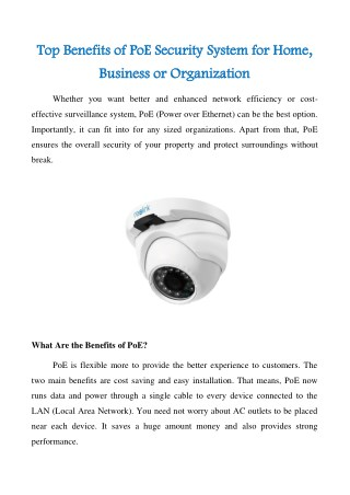 Top Benefits of PoE Security System for Home, Business or Organization