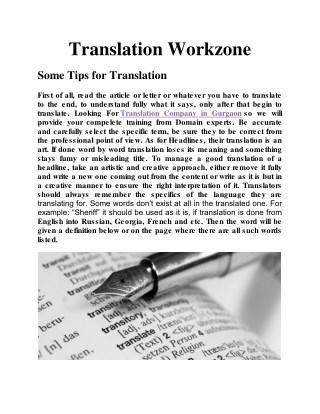 Translation Companies In Gurgaon | Translation Workzone