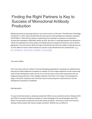 Finding the Right Partners Is Key to Success of Monoclonal Antibody Production