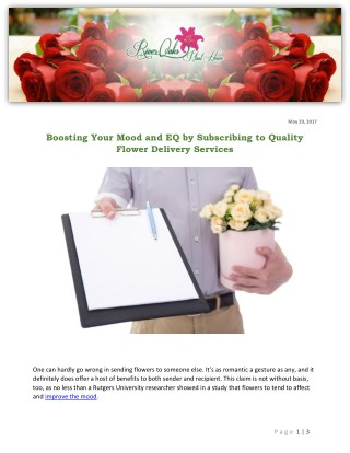 Boosting Your Mood and EQ by Subscribing to Quality Flower Delivery Services