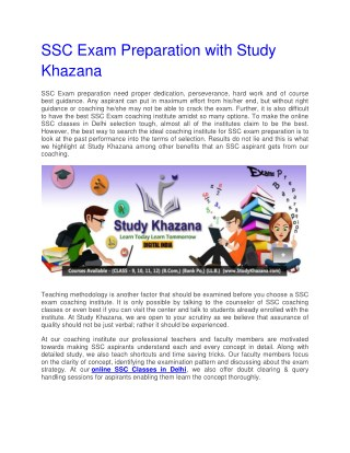 SSC Exam Preparation with Study Khazana