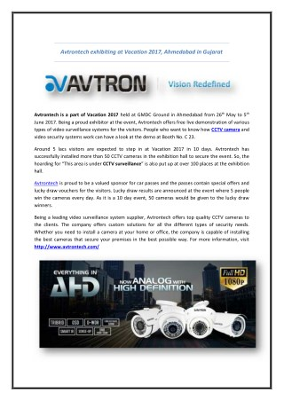 Avtrontech exhibiting at Vacation 2017, Ahmedabad in Gujarat