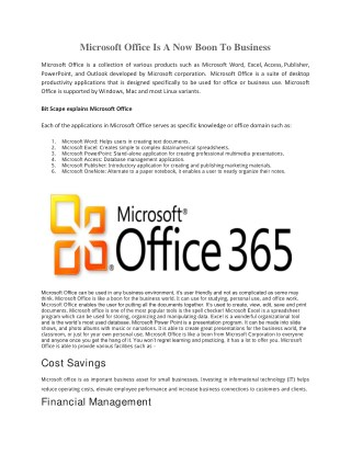 Microsoft Office Is A Now Boon To Business