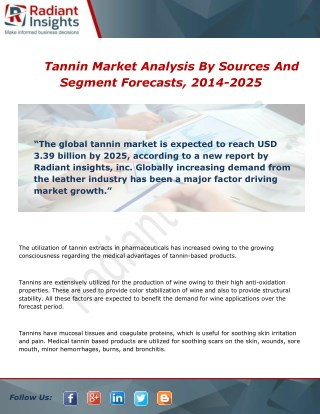 Tannin Market Size, Demand and Share Report 2014 - 2025