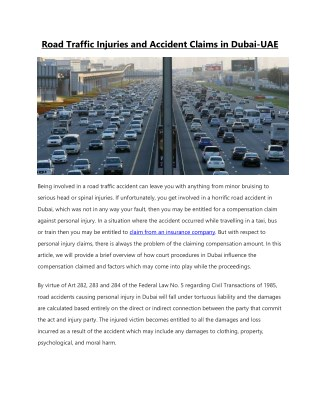 Road Traffic Injuries And Accident Claims In Dubai, UAE.