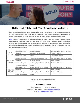 Hello Real Estate - Sell Your Own Home and Save
