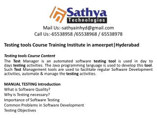 Testing Tools course training institute hyderabad – Best software training institute