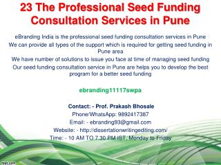 23 The Professional Seed Funding Consultation Services in Pune