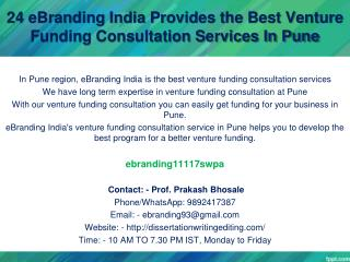 24 eBranding India Provides the Best Venture Funding Consultation Services In Pune