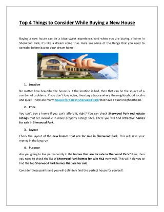 Top 4 Things to Consider While Buying a New House