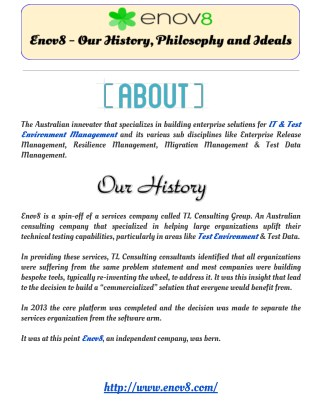 Enov8 - Our History, Philosophy and Ideals