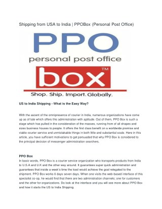 Shipping from usa to india | PPOBox(Personal Post Office)