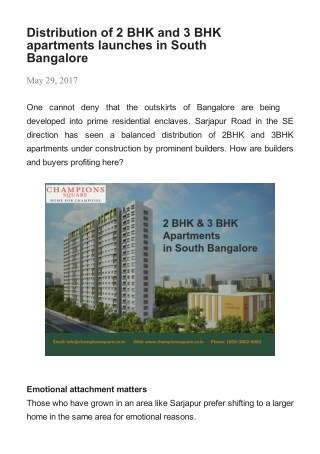 Distribution of 2 BHK and 3 BHK apartments launches in South Bangalore