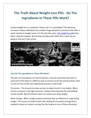 Effective fast Weight Loss Pills Online - MMUSA
