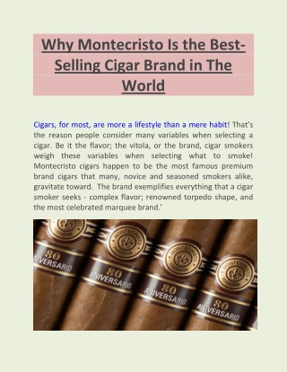 Why Montecristo Is the Best-Selling Cigar Brand in The World