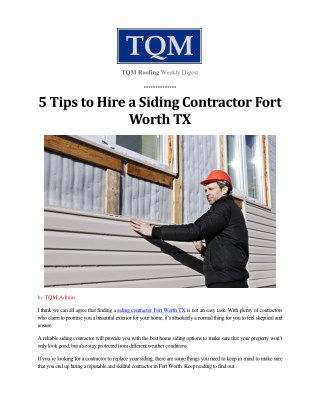 5 Tips to Hire a Siding Contractor Fort Worth TX