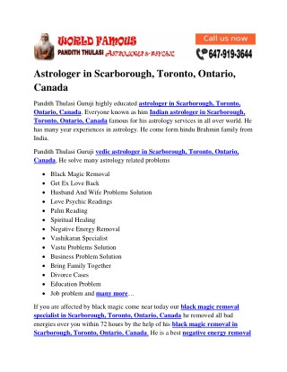 Astrologer in Scarborough, Toronto, Ontario, Canada