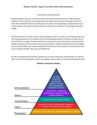 Maslow's Pyramid - Support Your Child's Climb to Self-Actualization.