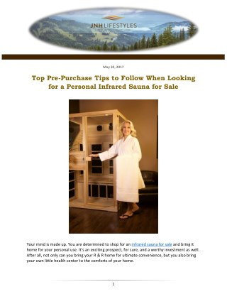 Top Pre-Purchase Tips to Follow When Looking for a Personal Infrared Sauna for Sale