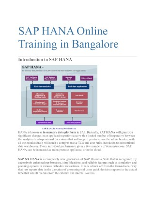 SAP HANA Online Training in Bangalore