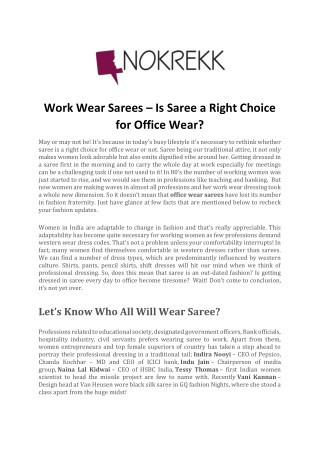 Work Wear Sarees  Is Saree a Right Choice for Office Wear?