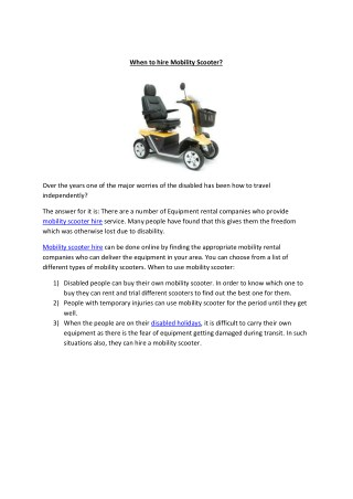 When to hire a Mobility scooter?