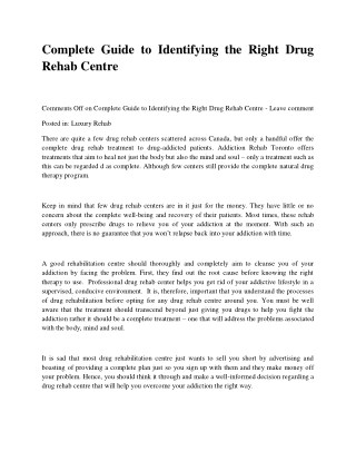 Complete Guide to Identifying the Right Drug Rehab Centre