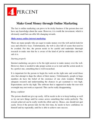 Make Money Online Internet Marketing - 4Percent