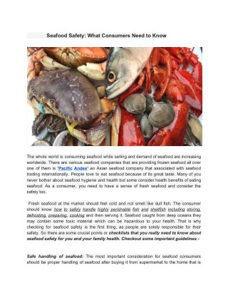 Do You Know What Is Seafood Safety.