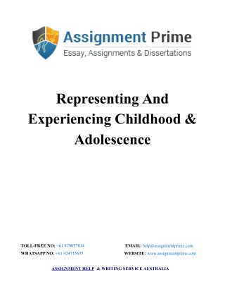 Representing And Experiencing Childhood & Adolescence