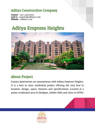 Aditya Empress Heights By Aditya Constructions Company Hyderabad