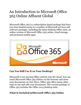 An Introduction to Microsoft Office 365 Online By Affluent Global