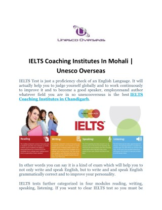 Best IELTS Coaching Institutes In Chandigarh-India | UnescoOverseas