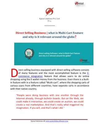 Direct-selling Software | what is Multi-Cart Feature and why is it relevant around the globe?