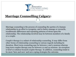 Marriage Counselling Calgary