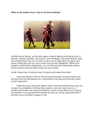 What are the Insider Soccer Tips to win Soccer Betting?
