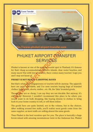 Low Cost Phuket Shuttle and Taxi Transfer
