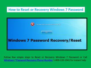 Steps to Recovery/Reset Windows 7 Password Call 18002201041 Phone Number