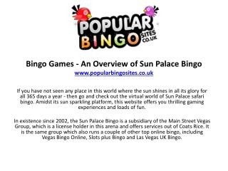 Bingo Games - An Overview of Sun Palace Bingo