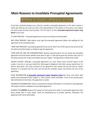 Main Reasons to Invalidate Prenuptial Agreements